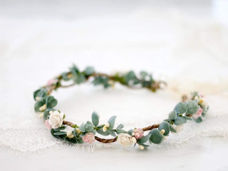 Hochzeit - Dainty flower crown wedding, eucalyptus floral crown bride
