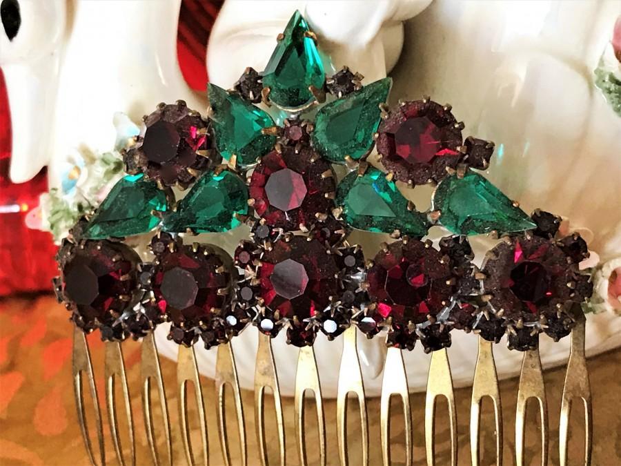 Hochzeit - Vintage Hair Comb, Ruby Red Rhinestone Hair Comb, Vintage Hair Accessory, Rhinestone Hair Comb, Vintage Bridal Jewelry, Vintage Christmas