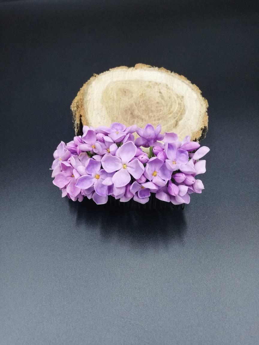 Hochzeit - Hair comb lilac hair accessory bridal hair comb headpiece floral lilac wedding rustic comb bridal hair purple hair accessory flower jewelry