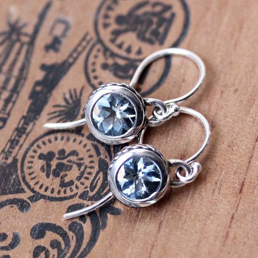 Wedding - Aquamarine drop earrings, March birthstone, gemstone dangle earrings, silver drop earrings, unique bezel earrings, aquamarine earings custom