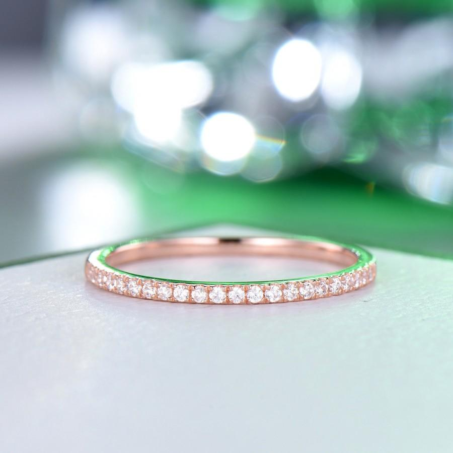 Wedding - Moissanite Thin Band Ring, Minimalist Diamond Matching Ring, Solid 14K Rose Half Eternity Ring, Unique Stackable Ring, Anniversary Gift Ring
