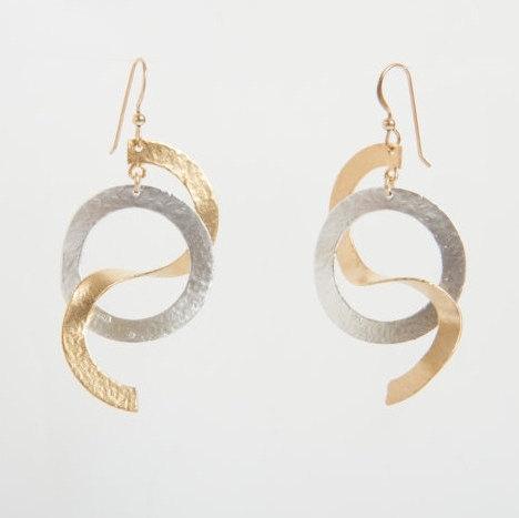 Mariage - Modern earrings  Gold Geometric Earrings, Silver Statement Earrings,Large silver and gold , Long Silver Dangle Earrings, Summer gifts