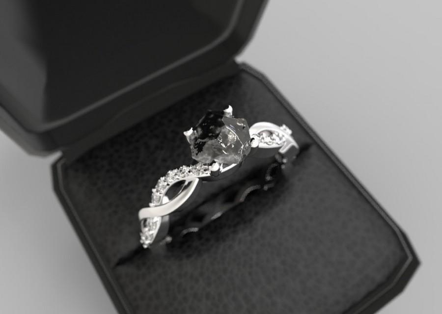Wedding - Raw Diamond Engagement Ring White Gold Rough Black Diamond Uncut Diamond Engagement Ring Rough Stone Uncut Stone White Gold Rough Diamond