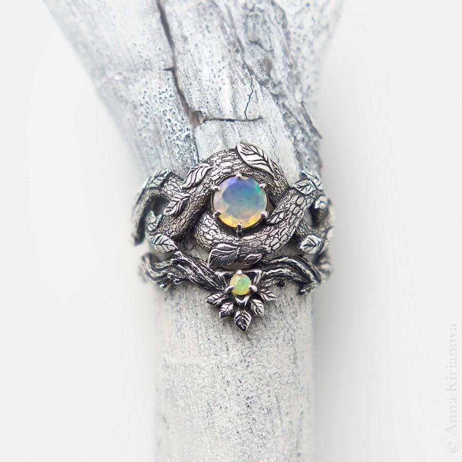 Wedding - Unique Bridal Ring Set, Fire Opal Ring, Stacking Engagement ring, Boho Ring Set, Bohemian Ring, Wedding Tropical Dragon Ring, 2 Ring Set