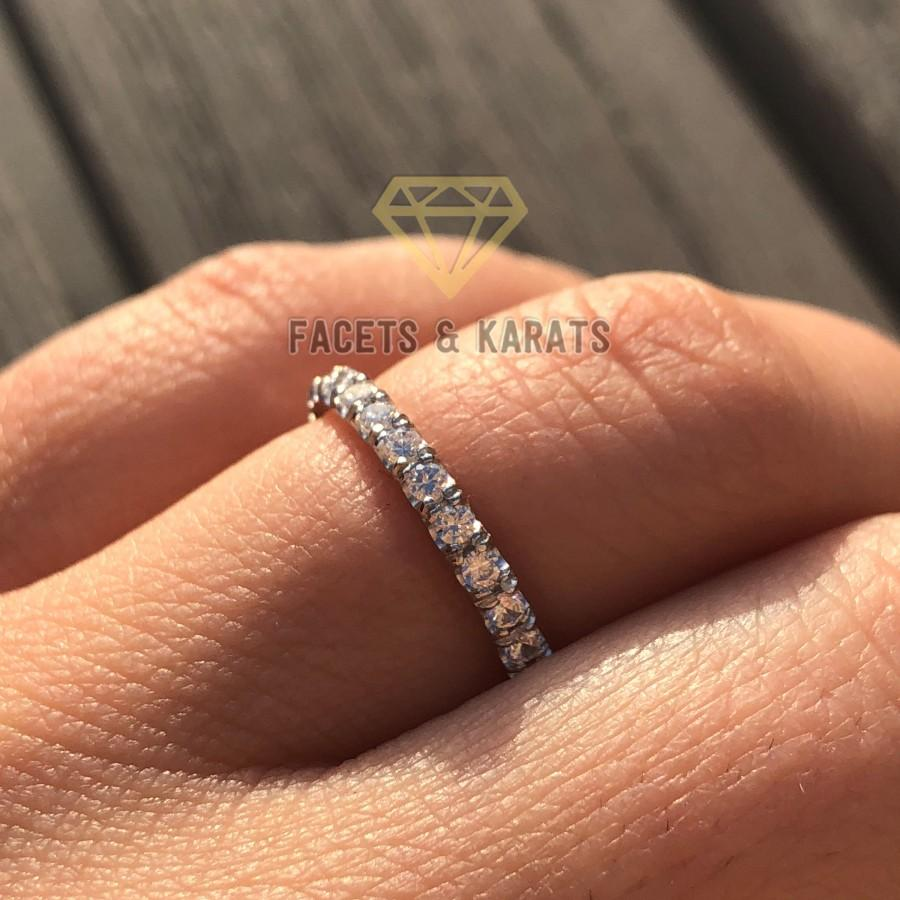 Wedding - 1 Carat Eternity Ring Eternity Band Round Cut Full Eternity Diamond Ring 14K White Gold OR Yellow and Rose Gold by Facets and Karats on Etsy