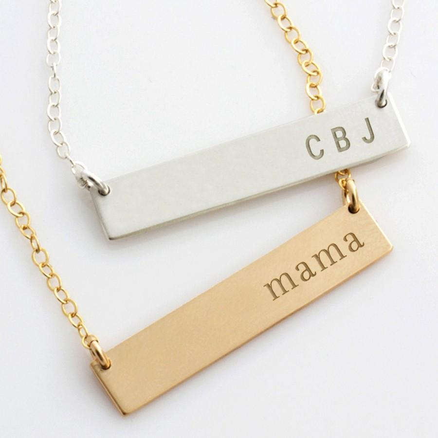 Mariage - Personalized Bar Necklace, Personalized Nameplate Necklace, Gold Bar Necklace for Her, Gift for Her, Gold Silver Bar, LEILAjewelryshop