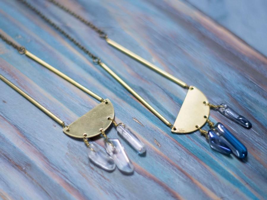 Wedding - Geometric brass pendant, Golden minimal pendant, Quartz bohemian pendant, Brass boho pendant, Quartz celestial pendant,