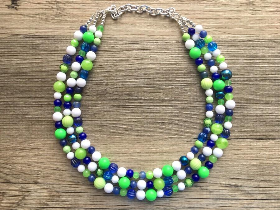 Wedding - Navy and Lime Green Cluster Necklace, Seattle football Jewelry, washington jewelry, seattle jewelry, green and blue, green white blue