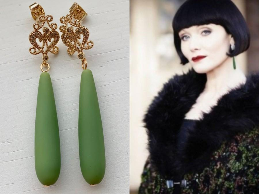 Wedding - Phryne Fisher Miss Fisher Murder Mysteries Green Sea Glass Teardrops Gold Cubic Zirconia Rectangle Teardrop Art Deco Pave Earrings