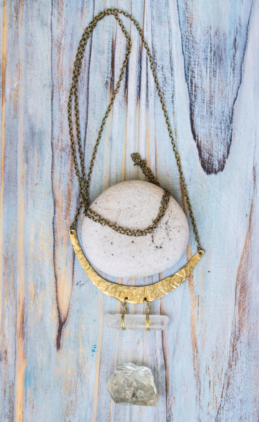 Wedding - Moon pendant, celestial pendant, yoga  pendant, aqua aura quartz points pendant, quartz points pendant, long chain pendant