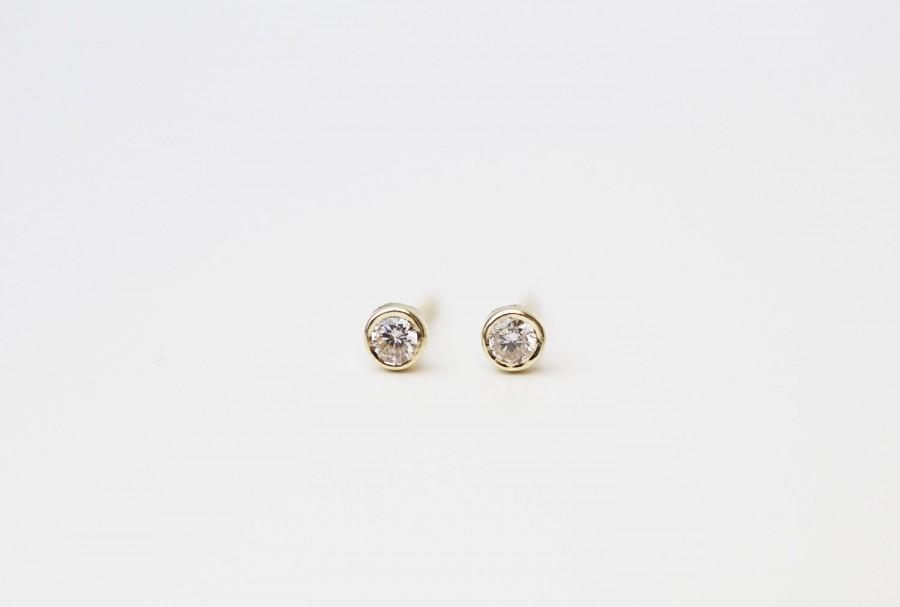 Wedding - 14K Round CZ Diamond solitaire Stud Earrings / 14K Solid yellow gold studs Perfect Gift for her / Round CZ Stud Earrings in 14K solid Gold