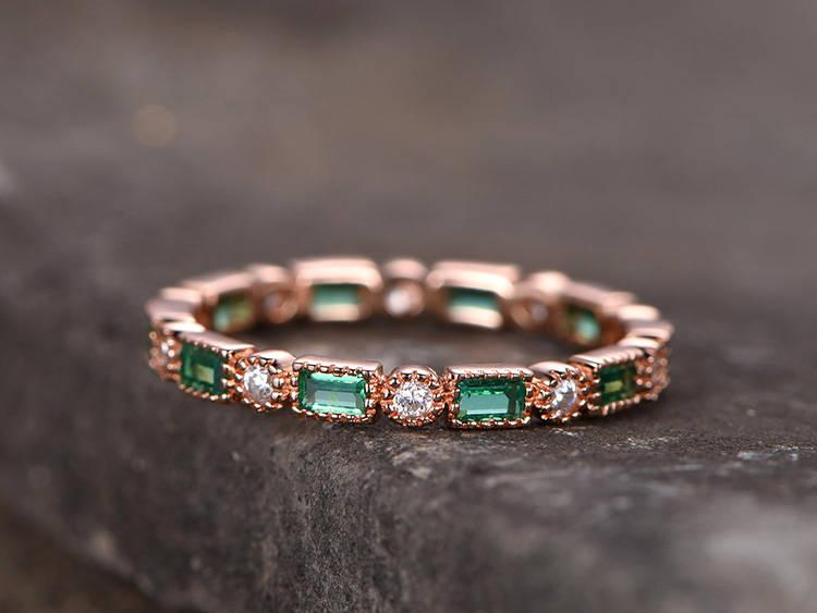 Wedding - Lab-treated Emerald Sterling silver ring/Cubic Zirconia wedding band/CZ wedding ring/stackable ring/Matching band/Xmas gift/Bezel set
