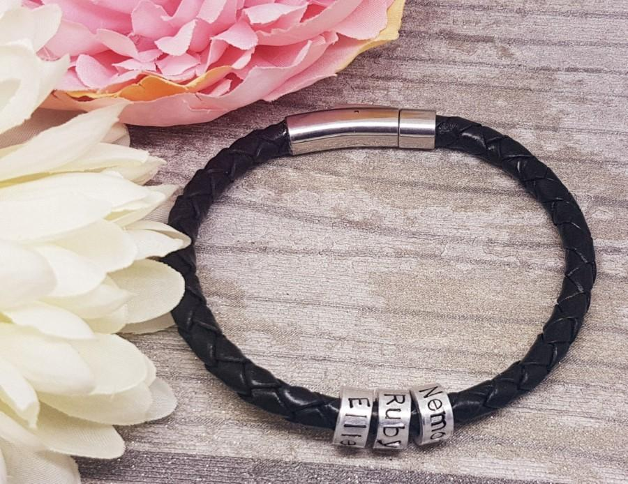 Wedding - Genuine Leather Bracelet with Personalised Beads - Black Leather Bracelet - Gift for Men, Gift for him