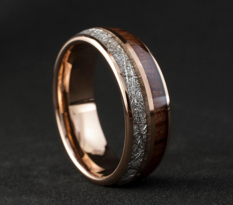 Wedding - Rose Gold Wood Meteorite Tungsten Ring Male Wedding Band Polished 2-Inlay Domed Design 8MM Size 5 to 15 Mens Anniversary Fathers Day Gift