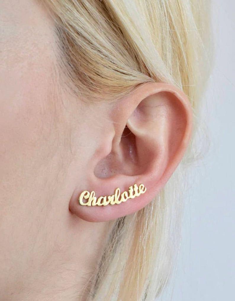 Свадьба - Name Earrings - 24k Gold Personalized Earring - Custom Earring Personalized Jewelry - Name Ear Climber Gold Earring - Earrings PAIR