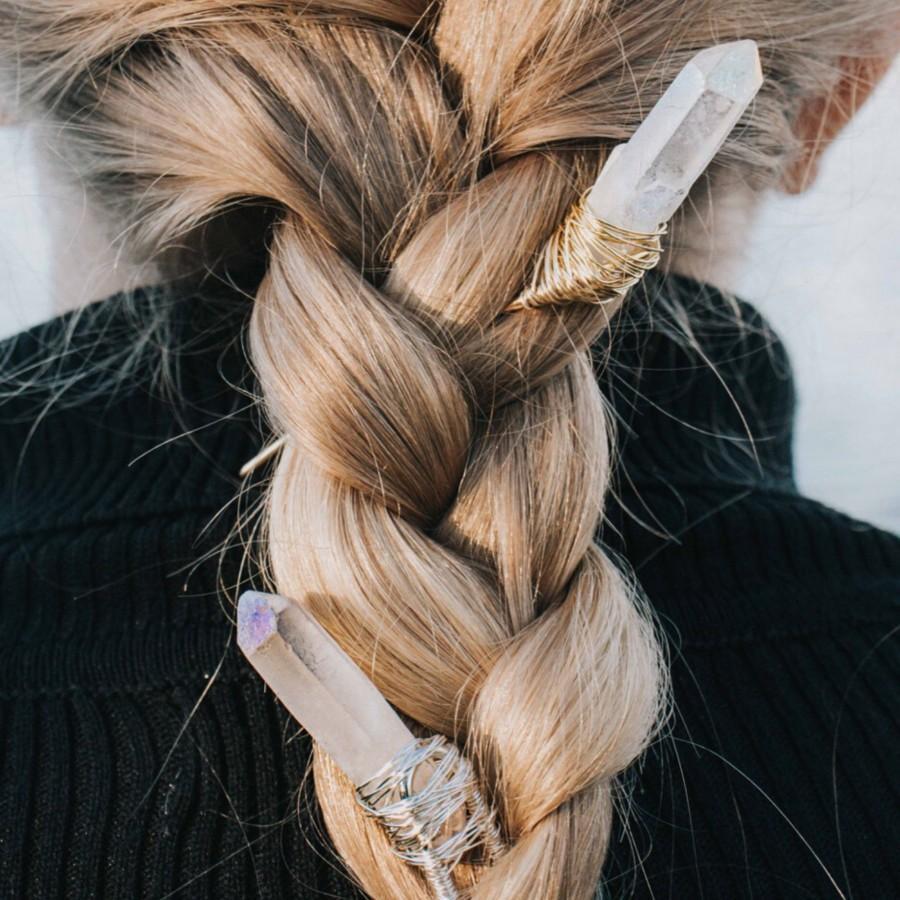 Wedding - Crystal Hair Clip, Gemstone Hair Pin, Crystal Point Hair Stick, Gemstone Hair Slide, Boho Hair Pins, Unique Hair Accessories, Aura Quartz
