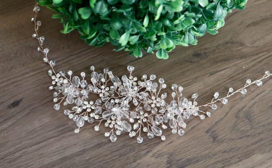 Hochzeit - Bridal hair vine Rose Gold Wedding hair vine Bridal hair piece Wedding hair piece Wedding Hair Accessories Crystal Bridal Hair Accessories