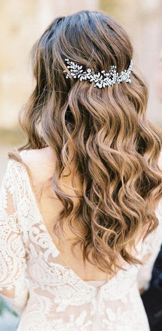 Hochzeit - Bridal hair piece Silver Bridal Hair Accessories Bridal Back headpiece Wedding Hair Accessories Bridal Halo Rose Gold Bridal hair jewelry