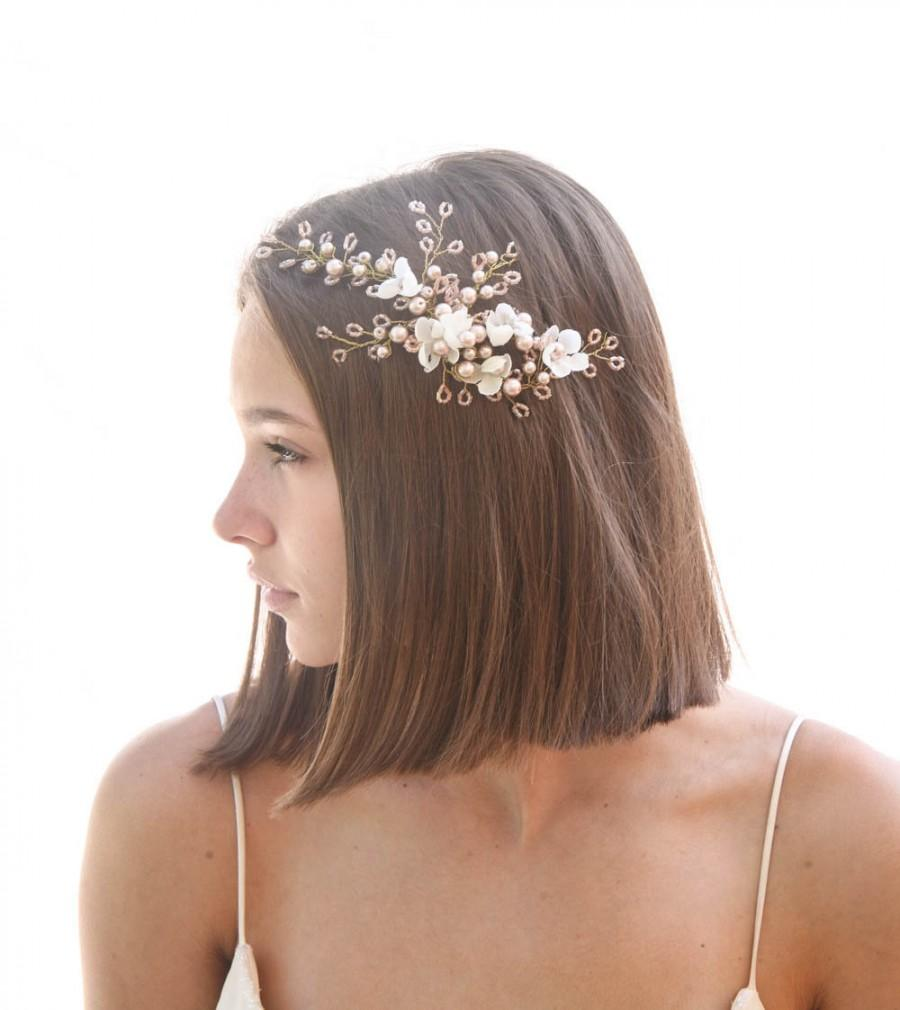 Hochzeit - Rose Gold Wedding Headpiece with Ivory Flowers, Wired Blush Pink Hair Accerssory , Pink Crystals and Flowers Bridal Hair Vine