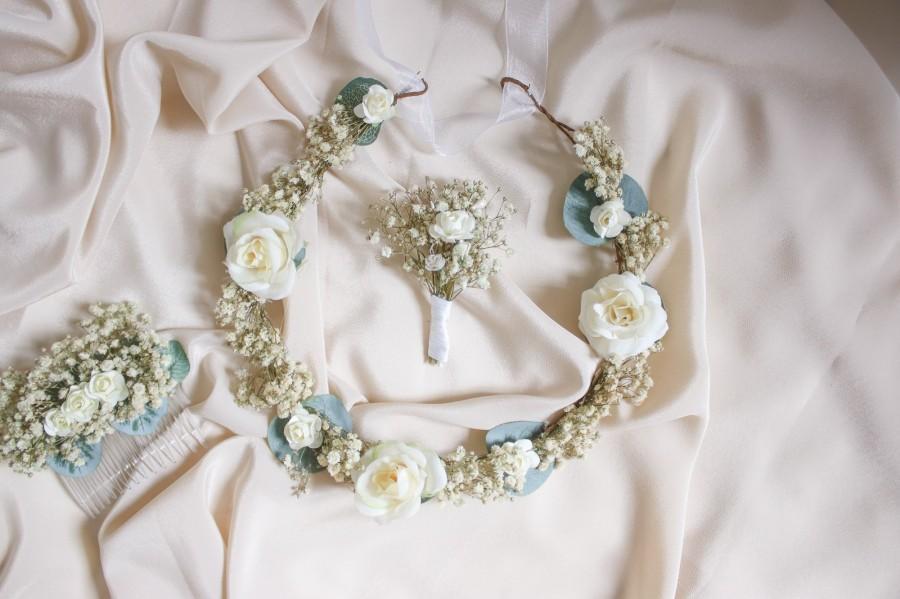 Hochzeit - Baby's Breath & Eucalyptus Flower Crown Bridal Set, Baby's Breath Boutonniere,