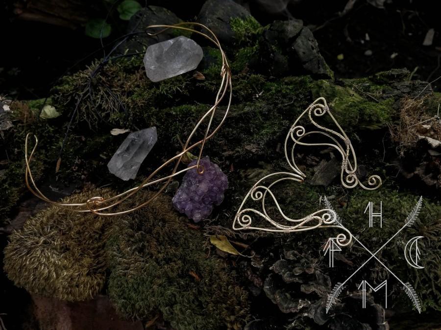 Hochzeit - Golden Elvish crown and elf earcuff set, elven tiara,  elven circlet, elvish tiara& elvish earcuffs, elven wedding, medieval bride