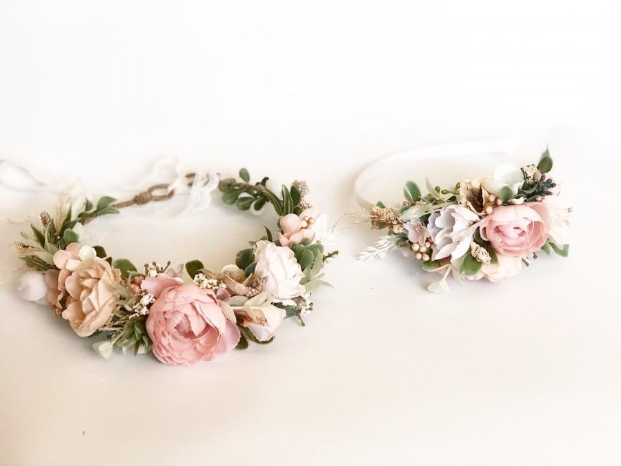 Wedding - Flower Crown, Blush Rose Flower garland, Bride floral crown- Baby Flower Crown, Flower Girl