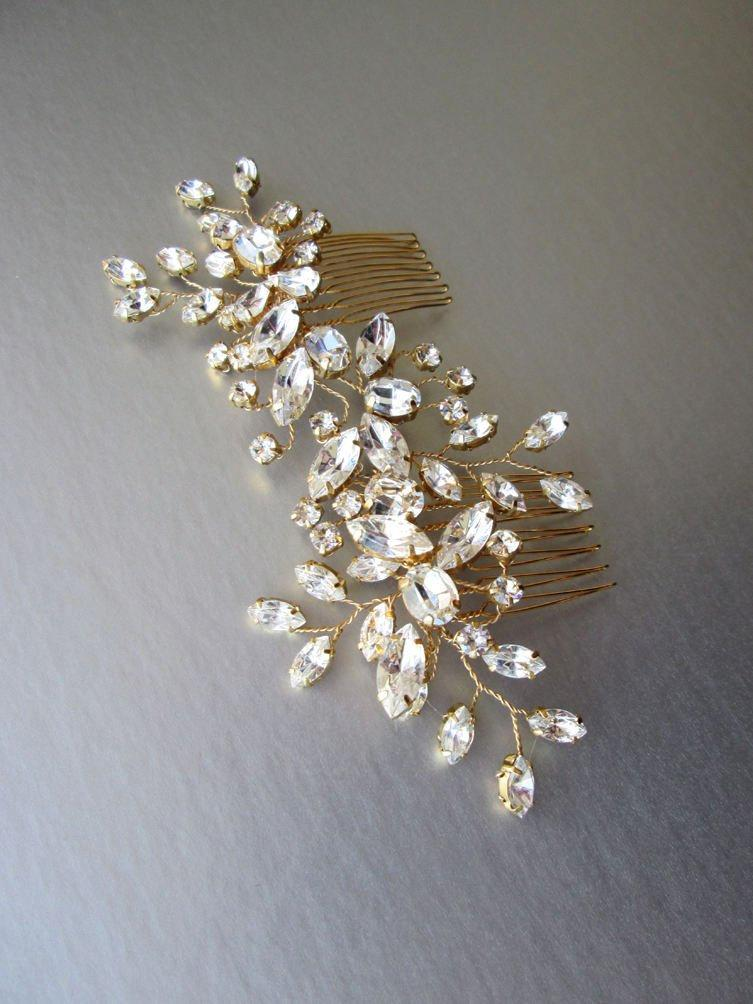 Wedding - Swarovski crystal hair vine, Bridal comb, Wedding Swarovski hair vine, Crystal hair comb, Bridal comb hair vine in gold, rose gold, silver