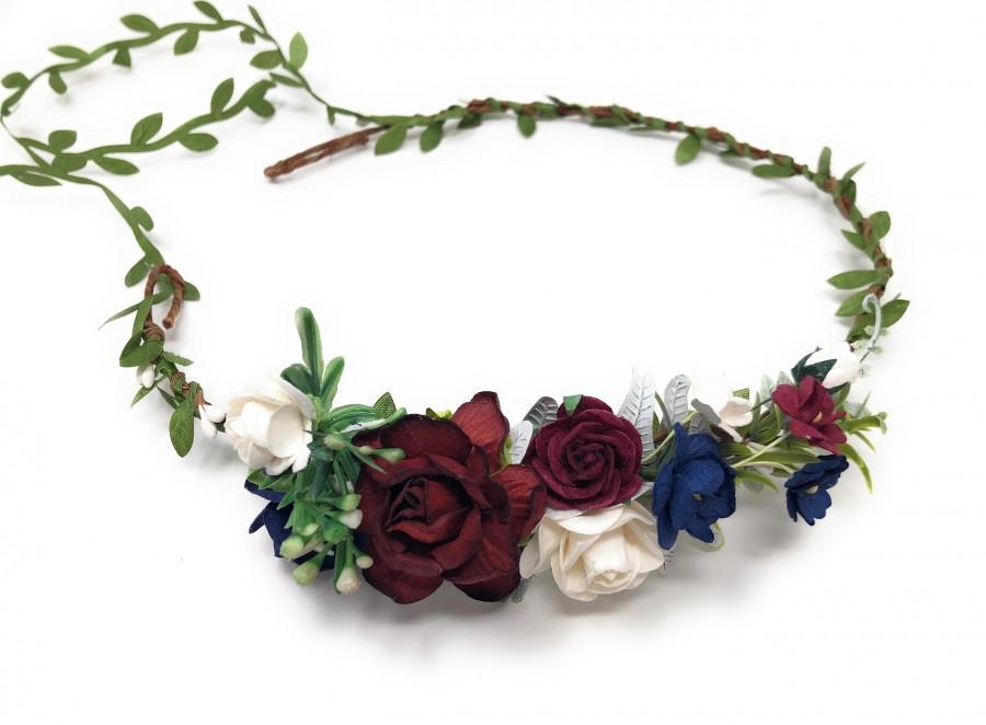 Wedding - Floral crown burgundy,  flower headpiece, bridal crown, flower crown adult, floral crown for bride, wedding flower crown, something blue