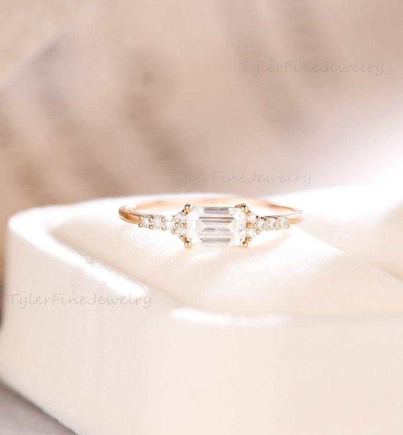 Wedding - Emerald cut Engagement Ring Moissanite Stacking band Minimalist delicate Ring East West Baguette Ring diamond Promise Ring Rose gold