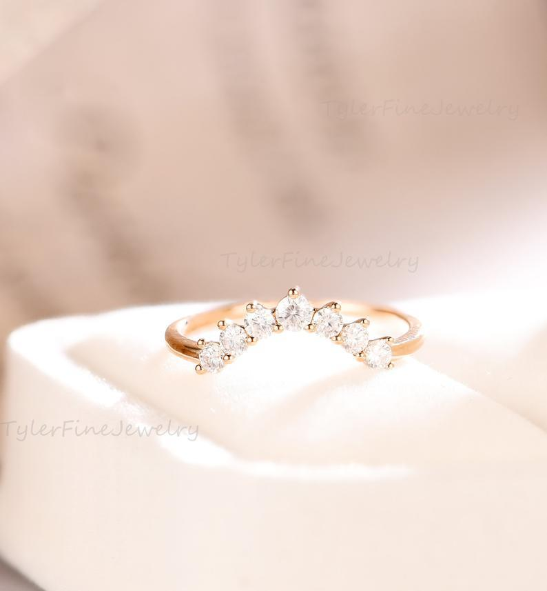Wedding - Vintage Curved Wedding Band Moissanite Unique Bridal set Solid Rose Gold stacking Delicate Promise matching band Diamond Anniversary ring