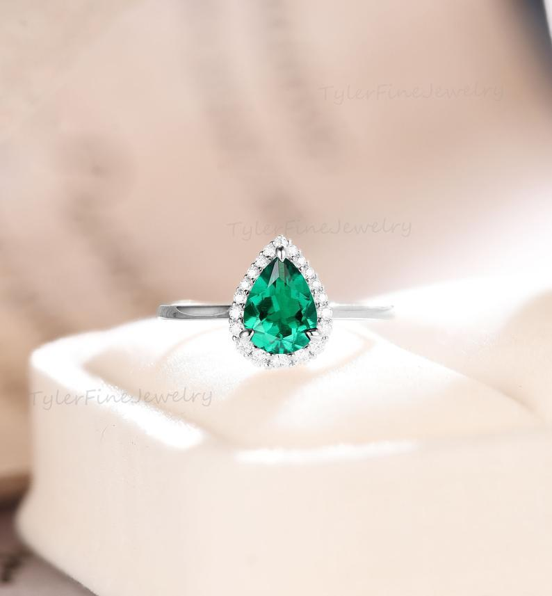 Wedding - Vintage Pear engagement ring Green Emerald white gold moissanite halo ring Antique wedding Unique Anniversary Bridal diamond Promise ring