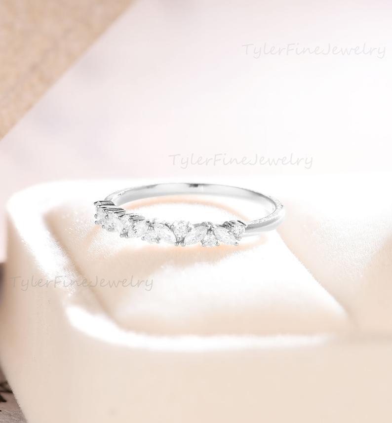 Wedding - Vintage wedding band Unique Moissanite wedding band women White gold Matching band Marquise cut Bridal Stacking Promise diamond ring