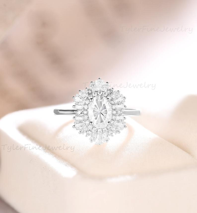 Wedding - Vintage Oval engagement ring moissanite halo ring Antique wedding Unique Anniversary Bridal ring Baguette Diamond/CZ Accents White gold