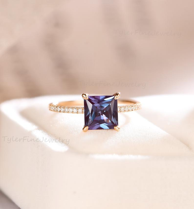 Wedding - Princess Cut Alexandrite Engagement Ring Stacking vintage unique diamond/moissanite wedding Bridal Anniversary Rose gold Half Eternity