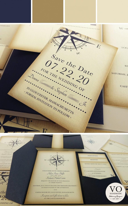 Wedding - Vintage Compass Wedding Save the Date Card, Navy Blue Postcard, Nautical Pocketfold Wedding Invitations, Beach Wedding Invites, Boat Yacht