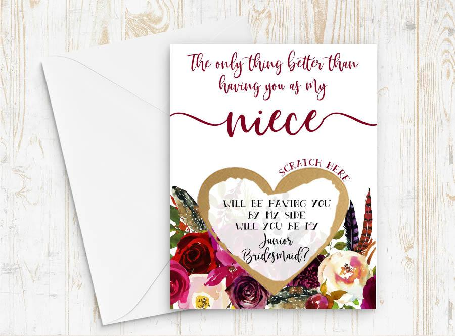 Wedding - Junior Bridesmaid Proposal for Niece - Scratch off junior bridesmaid card - Only thing better than having you - will you be my jr bridesmaid