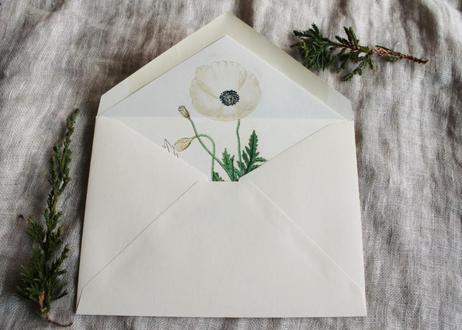 Wedding - White Poppy Envelope Liners