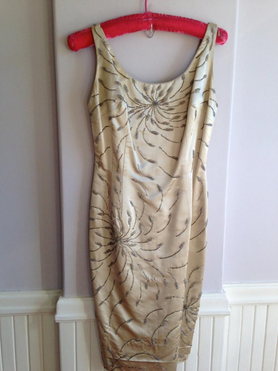 Wedding - 1950's / 60's Silk / Rayon Beaded Cocktail Dress / Vintage Wedding Dress /Glass Seed Beaded Dress / Vintage 50's Size 10