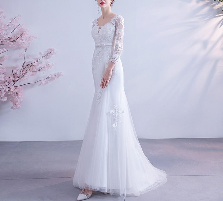 Wedding - Beach Wedding Dress Tulle Lace Embroidery White Bridal Dress V Neck Zipper Court Train Bridal Gown Long Sleeve Mermaid Formal Prom Dresses