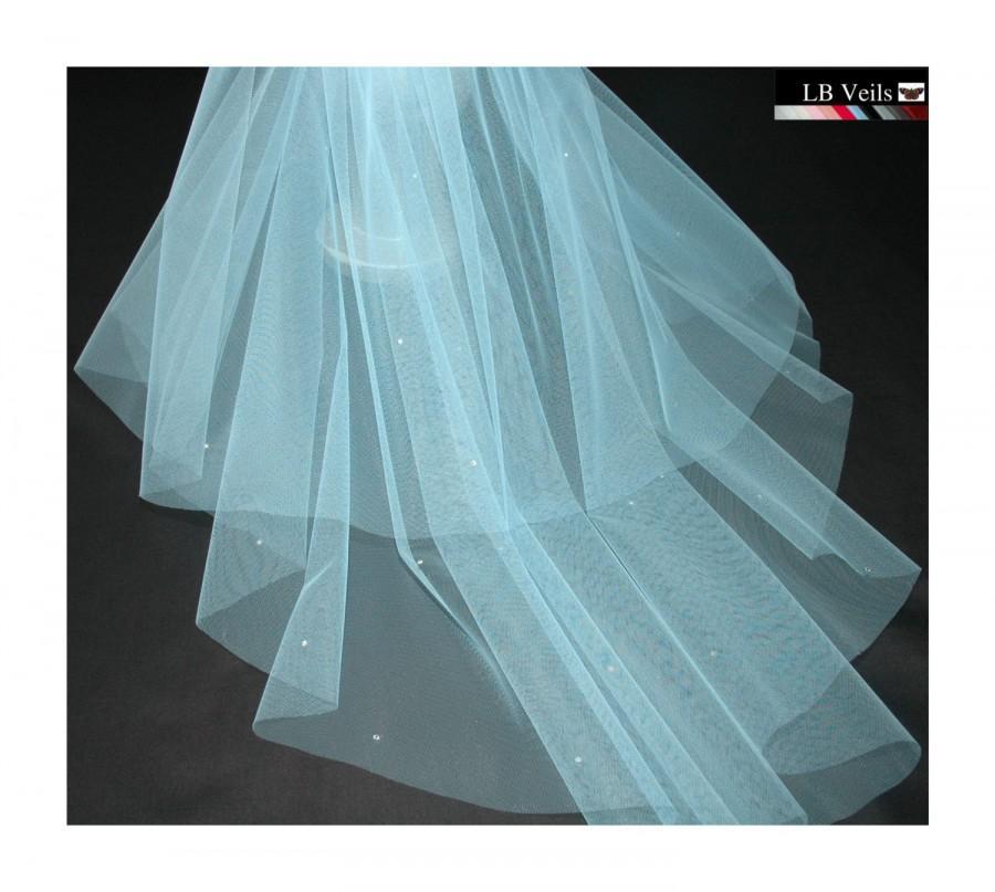 Mariage - Blue Veil, Blue Crystal Veil, Diamante, Sparkle, Blue, Wedding, Veil, Bridal, Short, Elbow, Waist, Hip, Fingertip, Length, LB Veils 151 UK