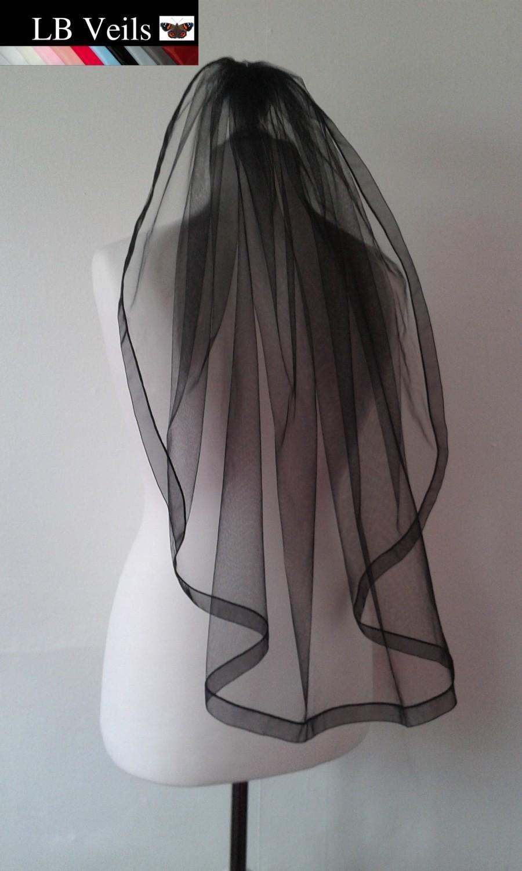 Mariage - Veil, Ribbon, Edge, 1 Tier, Black, Gothic, Organza, Any Colour, Length, Elbow, Fingertip, Short, Long, Wedding, Bridal, LB Veils LBV183 UK