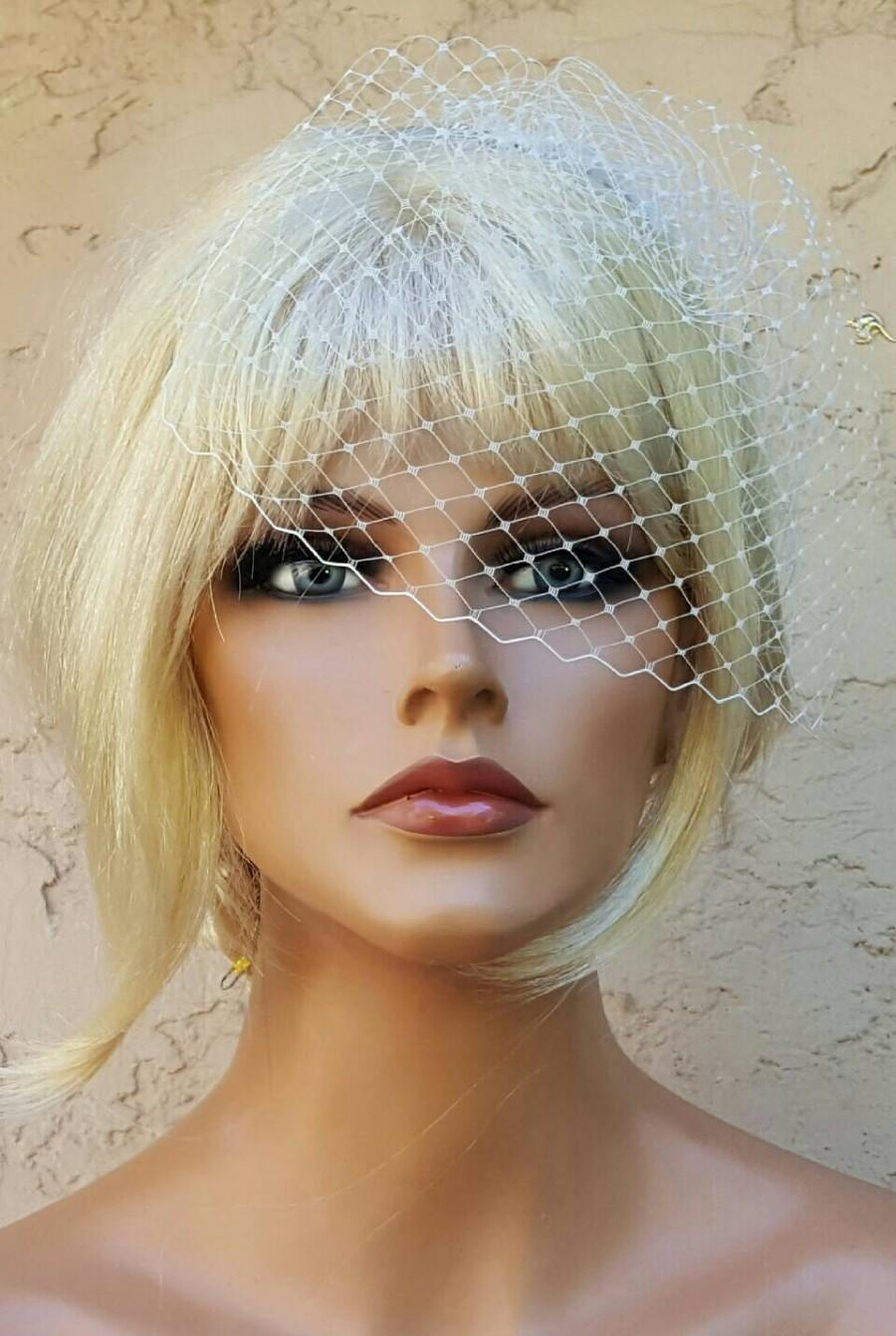 Mariage - Ivory French Net Bridal Veil, Wedding Veil, 7 inch Veil, Small Veil, VIntage Style Veil, White Bridal Veil, Wedding Veils with Combs