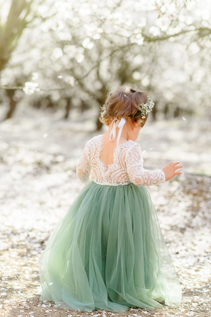 Wedding - Full Length Tulle Lace Top Scalloped Edges Back Party Flower Girl Dress