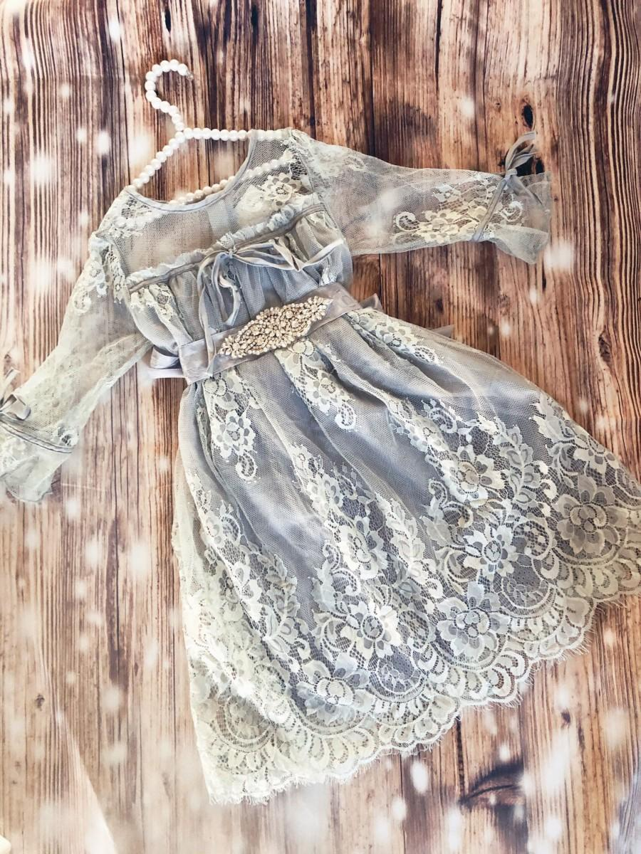 Wedding - Gray flower girl lace dress,  vintage inspired Birthday dress , little girl romantic  lace dress, wedding dress.