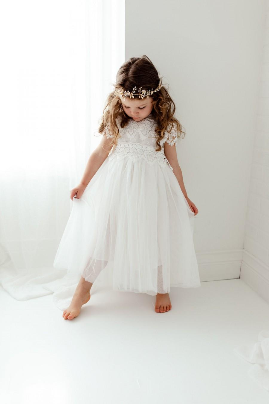 Wedding - Boho White Lace Flower Girl Dress, Romantic Toddler Tulle Wedding Gown, Long Sleeve Rustic Crochet Bohemian