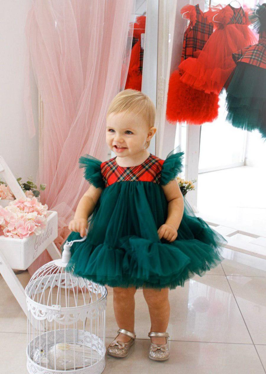 Wedding - Baby girl Christmas dress, first Christmas dress, size 9 12 18 months, fluffy green emerald dress for girls, cute baby Christmas outfit