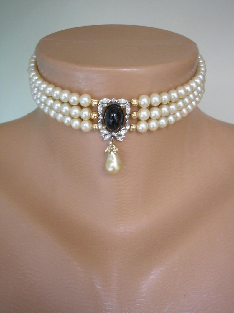 Wedding - Vintage Pearl Choker, Attwood and Sawyer Jewelry, Pearl Choker With Black Pendant, Indian Bridal Jewelry, Bridal Choker, Evening Jewellery