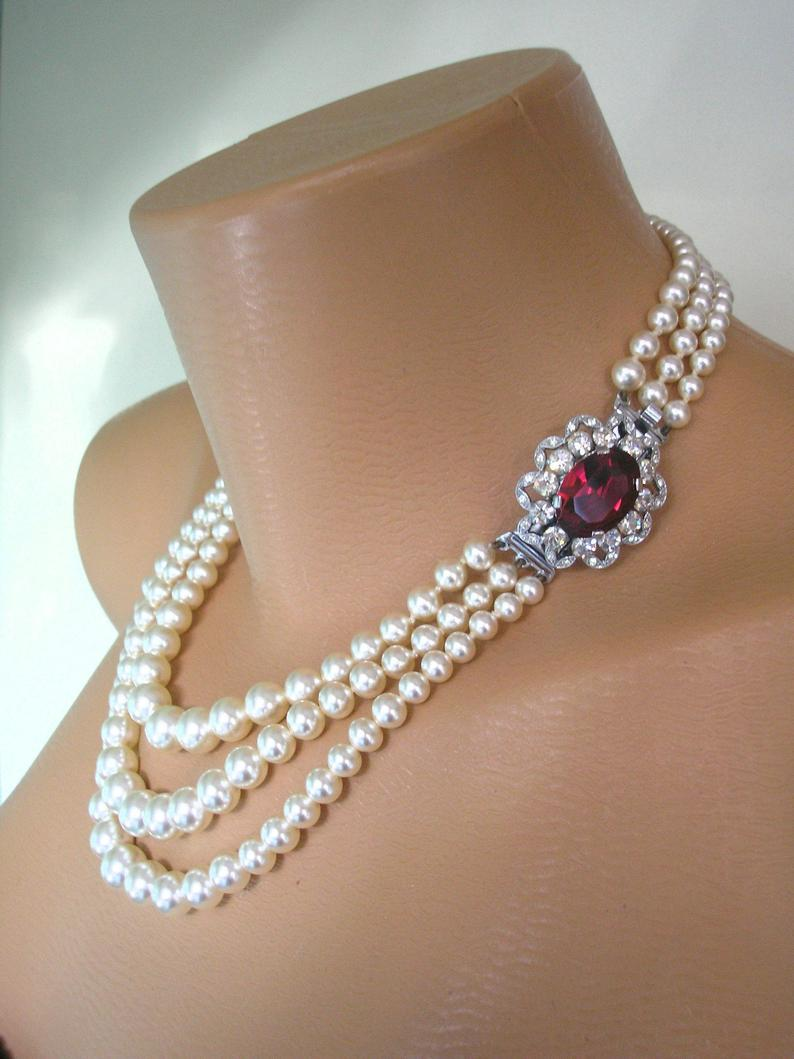 Wedding - Ruby Necklace, Pearl Choker, Mother of the Bride, Bridal Jewelry, Great Gatsby, 3 Strand, Ruby Choker, Wedding Jewelry, Art Deco, Downton