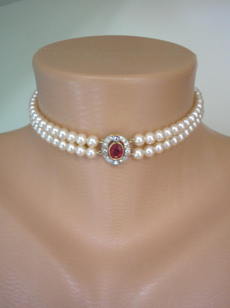Wedding - Ruby and Pearl Choker, Attwood & Sawyer, Vintage Pearl Choker Necklace, 2 Strand Pearl Choker, Cream Pearls, Indian Bridal Jewellery, Deco