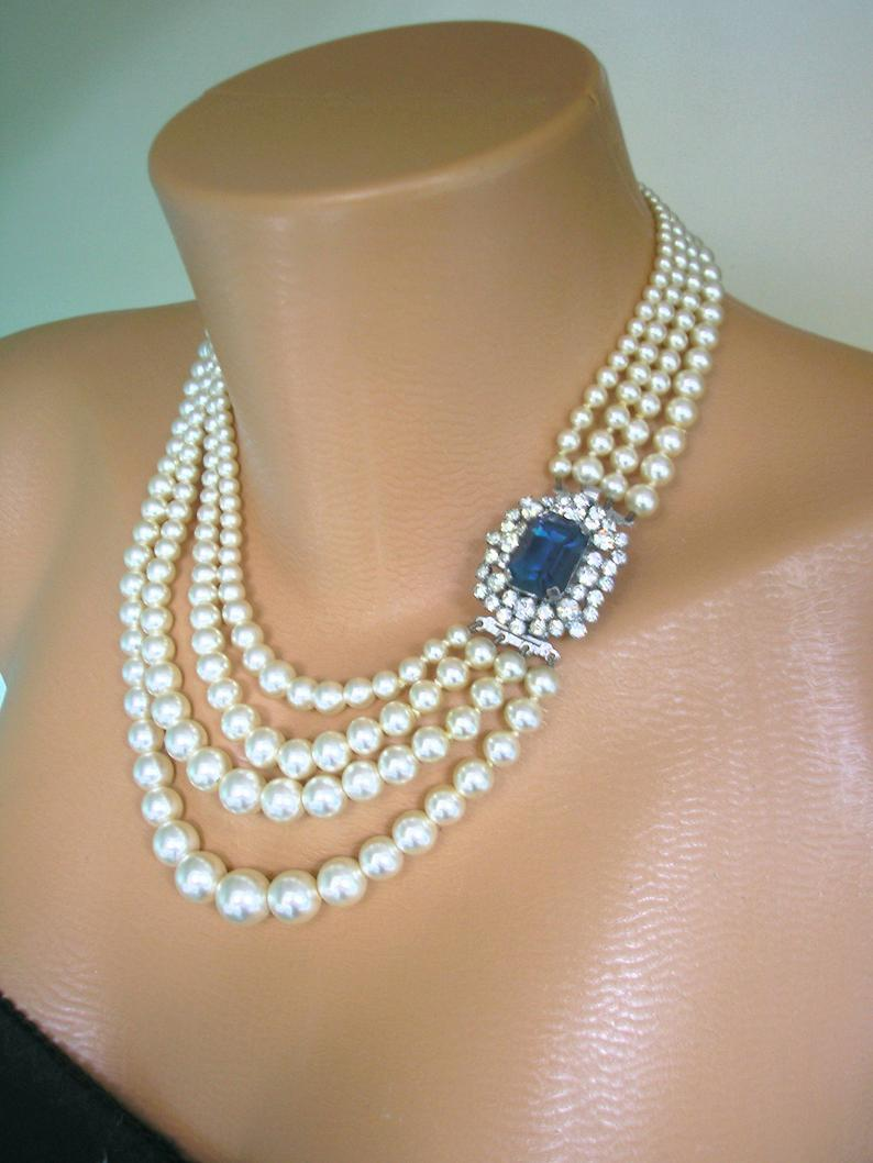 Wedding - Vintage Bridal Pearls, Vintage Pearl Choker, CHOICE OF COLOURS, 4 Strand Pearl Necklace, Bridal Pearls, Pearls With Side Clasp, Art Deco